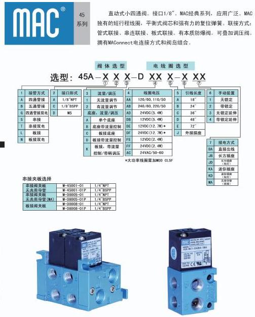 mac电磁阀45a系列管接尺寸图